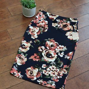 NWT Iris Basic Midi Skirt L Navy Coral Floral